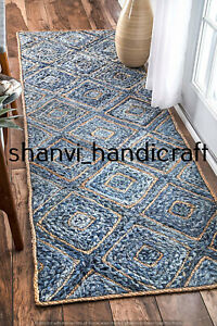 Blue & Beige Colour Jute Denim Braided Rug 2x3 Feet Rectangle Floor Area Rag Rug