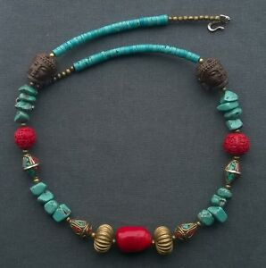 """BUDDAH NECKLACE  25.5"""" 925 TURQUOISE STERLING SILVER"""