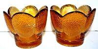 Viking Glass 7837 Soft Lights Candle Glimmer Votive Holders 1982 AMBER Set of 2