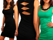 Womens Draped Sides Dress with Rhombus Cuts on Back Summer Stretchy Tunic 5905