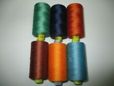 New Vintage Gutermann Polyester #100 Assorted 6 Colors Thread Spools L14