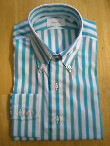 NWT Brooks Brothers Golden Fleece Turquoise Stripe Regent Button Down MSRP $225