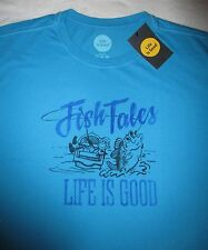 LIFE IS GOOD Fish Fishing Tales Boating Blue Mens SS T Shirt NWT NEW Size Sz XL