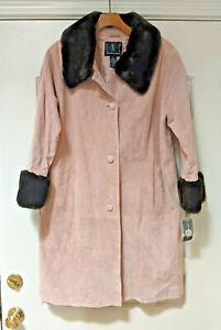 NWT INC International Concepts Rose Suede Mid-Length Coat - Faux Fur - Size  XL