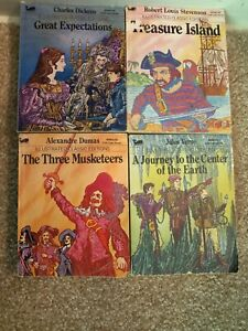 LOT of 4 Vtg Moby Books Illustrated Classic Editions Mini Pocket Size Paperback