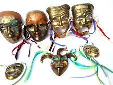 7 Solid Brass Colorful Mardi Gras Hanging Face Mask Set Wall Art