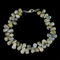 118.50 CTS NATURAL GOLDEN FLASH LABRADORITE TEAR DROP BEADS BRACELET (RS)