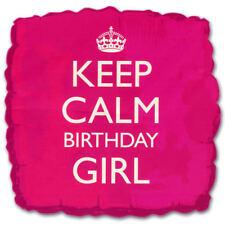 Keep Calm Birthday Girl Balloon - Foil square-shaped balloon Pink