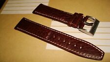 TORGOEN GENUINE FACTORY  REPLACEMENT LEATHER BAND BROWN PATTERN 22MM