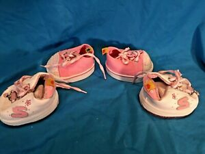 Build a Bear 2 Pairs of sneakers shoes White and pink