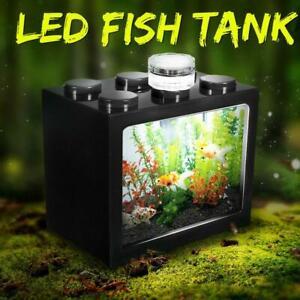 Mini Clear LED Fish Tank Goldfish Betta Building Block Ornament Aquarium USB