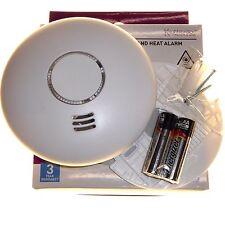 Wireless linkable smoke and heat alarm combo fire detector loud + LED flashing