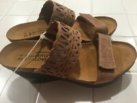 NAOT Womens Treasure Brown Leather Wedge Sandals size 39