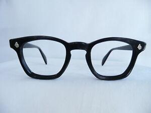 Vintage AO American Optical LOGO Black Horn Rim 1960's Eyeglass Frame 44/22 VG