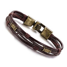 Men Leather Old Copper Cuff Bracelet Braided Multi-Layer Rope Punk Gift For Him