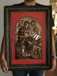 BRONZE 44cm/28cm F. BARBEDIENNE 19ème VIERGE à L'ENFANT Ste ANNE JOACHIM JESUS