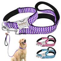 Personalised Dog Collar Leash Nylon Custom Engraved Name Medium Large Labrador