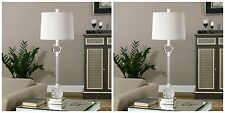 """TWO 34"""" MODERN FRENCH DECOR POLISHED NICKEL METAL CUT GLASS TABLE LAMPS"""