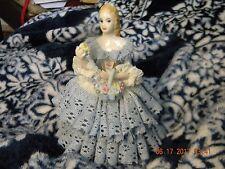 "Beautiful Irish Dresden ""Barbara"" Blue Lace Dress Lady Figurine W/Flowers"