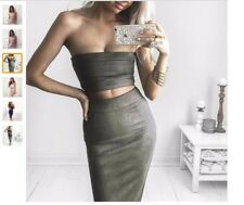 OLIVE HALTER Green PU Leather Pencilskirt Bodycon Club Party Green Midi Skirt