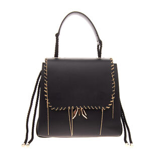 RRP €385 PATRIZIA PEPE Leather Satchel Bag Chain Trim Logo Detail Made in Italy