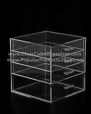ACRYLIC LUCITE CLEAR CUBE MAKEUP ORGANIZER 4 Pull out Drawers