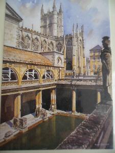 BRAND NEW IN PACKET SOUVENIR CARD PAINTING PRINT OLD ROMAN BATHS BATH ENGLAND