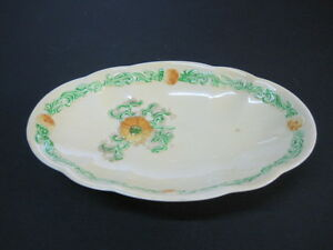 Carlton Oval Plate 17.5cms x 11cms Yellow-Green with Flowers VERY NICE!