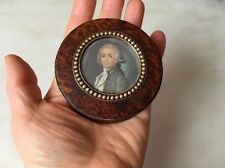 Burlwood Snuffbox Georgian 1700's Vtg Antique Miniature Portrait Gold Mounted