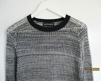 ALPHA 60 // Size S // Navy & White Loose Weave Cotton Knit Sweater