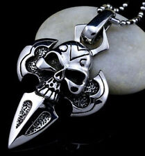 Vintage Unisex Silver Stainless Steel Cross Skull Pendant Necklace Chain Jewelry