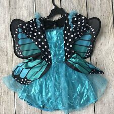 Girls Blue Sparkle Butterfly Fancy Costume Dress Up Toddler Sz 2-3 Deluxe Wings