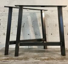 2 Handmade A-Frame Raw Steel Upcycle Large Dining Table Legs Industrial Style
