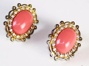 CZ by Kenneth Jay Lane Women's Clip-on Rhinestones Oval Jeweled Earrings, Coral