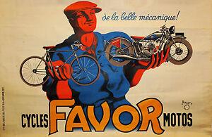 "24"" Framed Canvas Print Vintage Art Favor Bikes Motos painting"