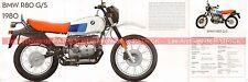 BMW R80/GS R 80 G/S 800 1980 UK Fiche Moto #009104