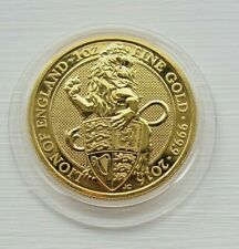 More details for queen's beasts 2016 lion of england gold bullion 1oz 999.9 purity £100 coin