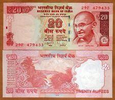 India, 20 Rupees, 2013, P-New, UNC > Gandhi