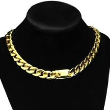 "18k Gold Plated Plain Choker 16"" Inch x 13MM Cuban Chain Heavy Hip Hop Necklace"
