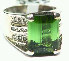 8.05CT 14K Gold Natural Round Cut White Diamond Tourmaline Vintage Deco Ring