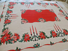 Christmas Table Cloth Candelabras Chic Poinsettias Red Green Gold 51x70 Vtg tc6