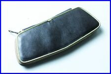 1960ies black pouch Leather case for 2 FOUNTAIN pens PENCILS ballpoint pens