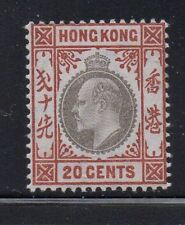 Hong Kong Sc 97 1904 20c or brn & blk Green Edward VII stamp mint Free Shipping