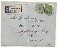 W15 1945 GB Devon Registered *COBOURG ST* Plymouth Cover MEF Soldier {samwells}