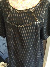 Monsoon Black Gold Short Sleeves Dress Size 20  Vgc Away
