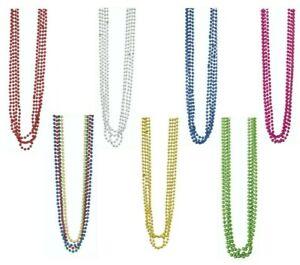 4,8,12 Plastic Metallic Beads Necklaces Summer Halloween Hen Mardi Gras Party