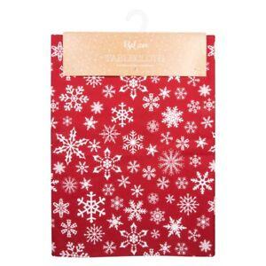 "Christmas Snowflake Red Cotton Table Cloth 52"" x 70"" (132cm x 178cm)"
