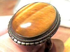 NATURAL RING 9 TIGER'S CAT EYE  STERLING SILVER 925 OVAL yellow BOLD unisex