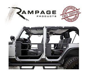 Rampage Trail Doors w/ Removable Net 07-18 Jeep Wrangler JKU 4 Door 7684 Black