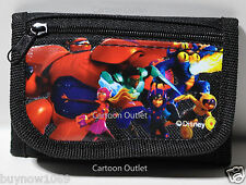 Disney Big Hero 6 Wallet Coin Bag Black Tri-Fold Wallet Licensed Nwt Baymax Kids